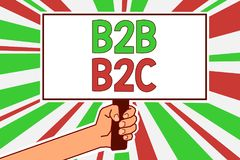 Text sign showing B2B B2C. Conceptual photo two types for sending emails to other people Outlook accounts Man hand holding poster vector illustration