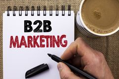 Text sign showing B2B Marketing. Conceptual photo Business to Business Commercial Transactions Commerce written by Man Holding Mar. Ker Notebook Book the jute Royalty Free Stock Photos