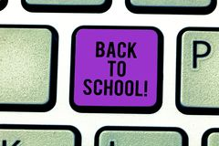 Text sign showing Back To School. Conceptual photo New Teachers Friends Books Uniforms Promotion Tuition Fee Keyboard