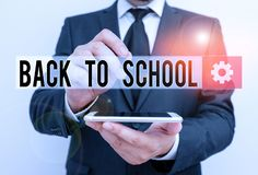 Text sign showing Back To School. Conceptual photo New Teachers Friends Books Uniforms Promotion Tuition Fee Male human