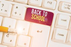 Text sign showing Back To School. Conceptual photo New Teachers Friends Books Uniforms Promotion Tuition Fee White pc