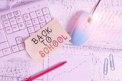 Text sign showing Back To School. Conceptual photo New Teachers Friends Books Uniforms Promotion Tuition Fee Writing