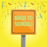 Text sign showing Back To School. Conceptual photo Right time to purchase schoolbag, pen, book, stationary 3D Square stock illustration
