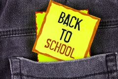 Text sign showing Back To School. Conceptual photo Right time to purchase schoolbag, pen, book, stationary written on Yellow Stick. Text sign showing Back To Stock Photo