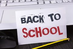 Text sign showing Back To School. Conceptual photo Right time to purchase schoolbag, pen, book, stationary written on White Sticky. Text sign showing Back To Stock Photo
