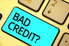 Text sign showing Bad Credit question. Conceptual photo history when it indicates that borrower has high risk Keyboard blue key In. Tention create computer royalty free stock images