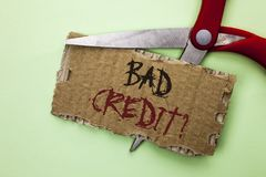 Text sign showing Bad Credit Question. Conceptual photo Low Credit Finance Economic Budget Asking Questionaire written on Tear Car. Text sign showing Bad Credit Stock Photography