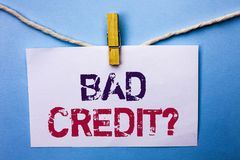 Text sign showing Bad Credit Question. Conceptual photo Low Credit Finance Economic Budget Asking Questionaire written on White No. Text sign showing Bad Credit royalty free stock photos