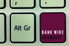 Text sign showing Bank Wire Transfer. Conceptual photo Electronic transfer of money through bank to bank.  stock image