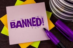 Text sign showing Banned Motivational Call. Conceptual photo Ban on use of steroids, No excuse for building Muscles. written on St. Text sign showing Banned royalty free stock photo