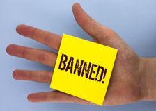 Text sign showing Banned Motivational Call. Conceptual photo Ban on use of steroids, No excuse for building Muscles. written on Ye. Text sign showing Banned royalty free stock photography