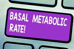 Text sign showing Basal Metabolic Rate. Conceptual photo Minimum energy level require to sustain vital function Keyboard. Key Intention to create computer stock photo