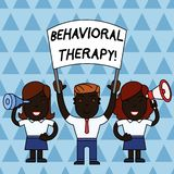 Text sign showing Behavioral Therapy. Conceptual photo help change potentially selfdestructive behaviors People with. Text sign showing Behavioral Therapy vector illustration