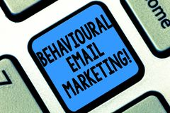 Text sign showing Behavioural Email Marketing. Conceptual photo customercentric trigger base messaging strategy Keyboard. Key Intention to create computer stock photo