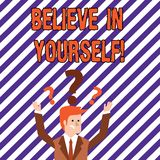 Text sign showing Believe In Yourself. Conceptual photo Determination Positivity Courage Trust Faith Belief. Text sign showing Believe In Yourself. Business royalty free illustration