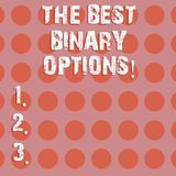 Text sign showing The Best Binary Options. Conceptual photo Great financial option fixed monetary amounts Circle photo royalty free illustration
