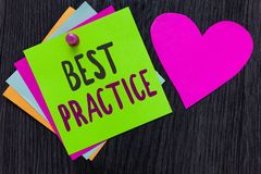 Text sign showing Best Practice. Conceptual photo Method Systematic Touchstone Guidelines Framework Ethic Papers. Romantic lovely message Heart Good feelings royalty free stock photography