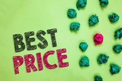 Text sign showing Best Price. Conceptual photo Buyer or seller can obtain something for a product sold or buy Crumpled wrinkled pa. Pers one different pink stock photos