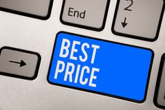 Text sign showing Best Price. Conceptual photo Buyer or seller can obtain something for a product sold or buy Keyboard blue key In. Tention create computer stock photos
