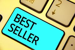 Text sign showing Best Seller. Conceptual photo book or other product that sells in very large numbers Keyboard blue key Intention royalty free stock image
