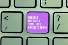 Text sign showing The Best Way To Get Something Done Is To Begin. Conceptual photo Start doing to get results Keyboard. Key Intention to create computer message royalty free stock photography