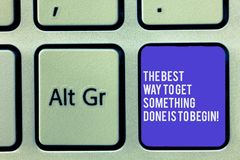 Text sign showing The Best Way To Get Something Done Is To Begin. Conceptual photo Start doing to get results Keyboard. Key Intention to create computer message stock photography