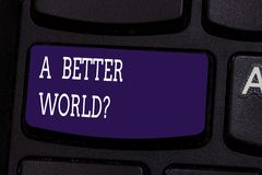 Text sign showing A Better Worldquestion. Conceptual photo Predesigned source that shows the layout of a website. Keyboard key Intention to create computer royalty free stock photo