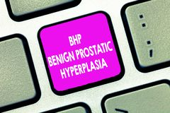 Text sign showing Bhp Benign Prostatic Hyperplasia. Conceptual photo Noncancerous prostate gland enlargement.  royalty free stock images