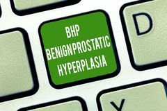 Text sign showing Bhp Benign Prostatic Hyperplasia. Conceptual photo Noncancerous prostate gland enlargement.  stock photo