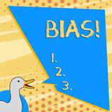 Text sign showing Bias. Conceptual photo inclination or prejudice for or against one demonstrating group photo of Duck. Text sign showing Bias. Business photo stock illustration
