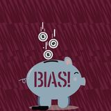 Text sign showing Bias. Conceptual photo inclination or prejudice for or against one demonstrating group Color Piggy. Text sign showing Bias. Business photo text stock illustration