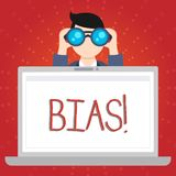 Text sign showing Bias. Conceptual photo inclination or prejudice for or against one demonstrating group Man Holding and. Text sign showing Bias. Business photo royalty free illustration