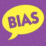 Text sign showing Bias. Conceptual photo Prejudice in favor of and against one thing Considered to be Unfair.  vector illustration