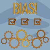 Text sign showing Bias. Conceptual photo Unfair Subjective Onesidedness Preconception Inequality Bigotry. Text sign showing Bias. Business photo text Unfair royalty free illustration