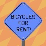Text sign showing Bicycles For Rent. Conceptual photo rents bikes for short periods of time usually few hours Blank. Diamond Shape Color Road Warning Signage royalty free illustration