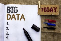 Text sign showing Big Data. Conceptual photo Huge Data Information Technology Cyberspace Bigdata Database Storage written on Noteb