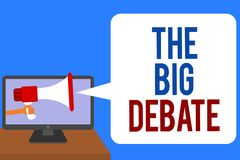 Text sign showing The Big Debate. Conceptual photo Lecture Speech Congress presentation Arguments Differences Man holding Megaphon. E loudspeaker computer screen stock illustration