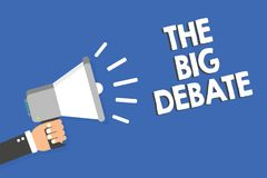 Text sign showing The Big Debate. Conceptual photo Lecture Speech Congress presentation Arguments Differences Man holding megaphon. E loudspeaker blue background stock illustration