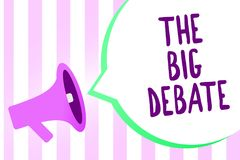 Text sign showing The Big Debate. Conceptual photo Lecture Speech Congress presentation Arguments Differences Megaphone loudspeake. R stripes background vector illustration