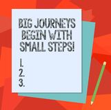 Text sign showing Big Journeys Begin With Small Steps. Conceptual photo One step at a time to reach your goals Stack of. Blank Different Pastel Color royalty free illustration