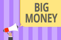 Text sign showing Big Money. Conceptual photo Pertaining to a lot of ernings from a job,business,heirs,or wins Megaphone loudspeak. Er loud screaming scream idea Royalty Free Stock Images