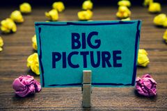 Text sign showing Big Picture. Conceptual photo most important facts about certain situation and its effects Clothespin holding bl. Ue paper note crumpled papers stock photography
