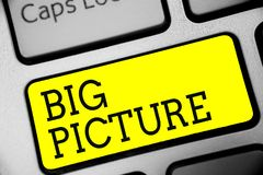 Text sign showing Big Picture. Conceptual photo most important facts about certain situation and its effects Keyboard yellow key I stock images