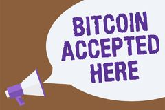 Text sign showing Bitcoin Accepted Here. Conceptual photo you can purchase things through Cryptocurrencies Hot issue announcement. Attention recall warning Stock Photo