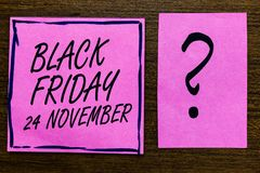 Text sign showing Black Friday 24 November. Conceptual photo Special sales Thanksgiving discounts Clearance Violet color black lin. Ed sticky note with letters stock photo