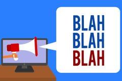 Text sign showing Blah Blah Blah. Conceptual photo Talking too much false information gossips non-sense speaking Man holding Megap. Hone loudspeaker computer stock illustration