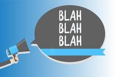 Text sign showing Blah Blah Blah. Conceptual photo Talking too much false information gossips non-sense speaking Man holding megap. Hone loudspeaker speech vector illustration