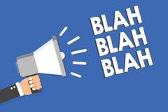 Text sign showing Blah Blah Blah. Conceptual photo Talking too much false information gossips non-sense speaking Man holding megap. Hone loudspeaker blue royalty free illustration