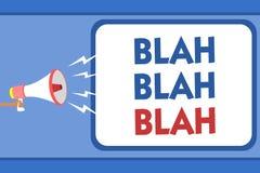 Text sign showing Blah Blah Blah. Conceptual photo Talking too much false information gossips non-sense speaking Man holding megap. Hone loudspeaker speech stock illustration