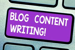 Text sign showing Blog Content Writing. Conceptual photo online writing which is link to web marketing campaign Keyboard. Key Intention to create computer stock images